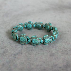 Turquoise Stretch Beaded Fashion Bracelet Turtle